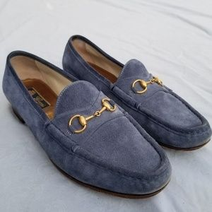 Authentic Gucci Blue Horsebit Loafers